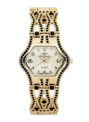 Mon Grandeur Analog Watch for Women with Metal Band and Mother of Pearl Dial, Water Resistant, Crystal Studded, GR-IN62382, Gold-White