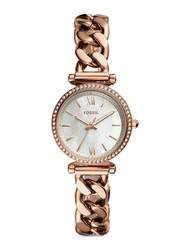 Fossil Limited Collection Carlie Mini Analog Watch for Women with Stainless Steel Band, Water Resistant, ES4688, Rose Gold-White