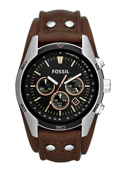 Fossil Analog Watch for Men with Leather Band, Water Resistant and Chronograph, CH2891, Brown-Black