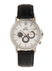 Orient Analog Multi Function Watch for Men with Leather Band, Chronograph, SRL04002, Black-White