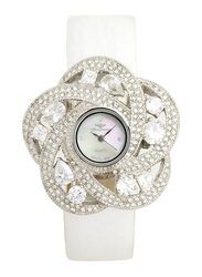 Mon Grandeur Analog Watch for Women with Leather Band, Water Resistant, Stone Studded, GR-IN82346, White
