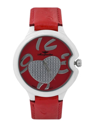 Mon Grandeur Analog Watch for Women with Leather Band, Water Resistant, GF-12029L, Red-Silver/Red