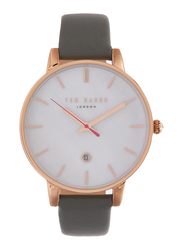 Ted Baker Analog Watch for Women with Leather Band, Water Resistant, TE50310001, Grey-White