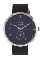 Ted Baker Analog Watch for Men with Leather Band, Water Resistant, TE50011007, Black-Blue