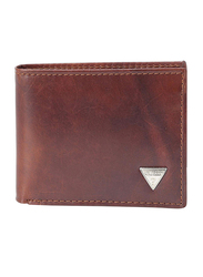 Guess Premium Leather Bi-Fold Wallet for Men, with Naples Passcase 4 Credit Card, Tan