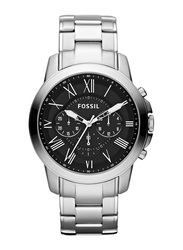Fossil Grant Analog Watch for Men with Stainless Steel Band, Water Resistant and Chronograph, FS4736, Silver-Black