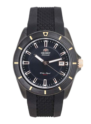 Orient Analog Watch for Men with Silicone Band, Water Resistant, SER1V002B0, Black-Gold/Black