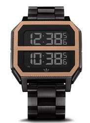Adidas Archive MR2 Digital Watch for Men with Stainless Steel Band, Water Resistant, Z21-3077-00, Black-Rose Gold/Black