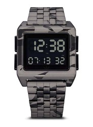 Adidas Archive M1 Digital Watch for Men with Stainless Steel Band, Water Resistant, Z01-819-00, Grey-Black