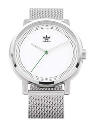 Adidas Analog Unisex Watch with Stainless Steel Band, Water Resistant, Z22-3244-00, Silver-White