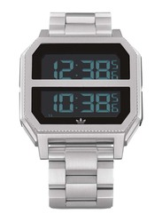 Adidas Archive MR2 Digital Watch for Men with Stainless Steel Band, Water Resistant, Z21-1920-00, Silver-Black