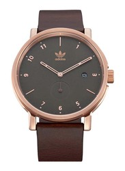 Adidas District LX2 Analog Watch for Men with Leather Band, Water Resistant, Z12-3038-00, Brown