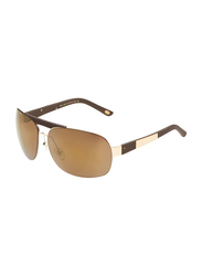 Maxima Full Rim Rectangular Sunglasses for Men, Gold Lens, MX0014-C4, 67/14