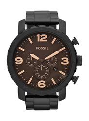 Fossil Analog Watch for Men with Stainless Steel Band, Chronograph, JR1356, Black-Brown