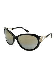 Gf Ferre Full Rim Oval Sunglasses for Women, Grey Lens, GF973-02, 62/17/120