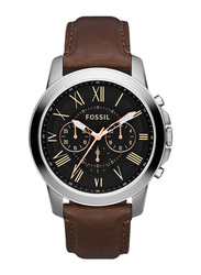 Fossil Grant Analog Watch for Men with Leather Band, Water Resistant and Chronograph, FS4813, Brown-Black