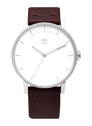 Adidas District L1 Analog Unisex Watch with Leather Band, Water Resistant, Z08-1113-00, Brown-White/Silver