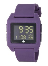 Adidas Digital Unisex Watch with Silicone Band, Water Resistant, Z15-3205-00, Purple-Black
