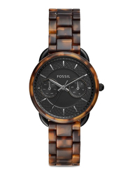 Fossil Limited Collection Tailor Analog Watch for Women with Ceramic Band, Water Resistant and Chronograph, ES4639, Tortoise Brown-Black