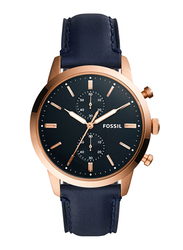 Fossil Townsman Analog Watch for Men with Leather Band, Water Resistant and Chronograph, FS5436, Blue