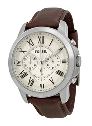 Fossil Grant Analog Watch for Men with Leather Band, Water Resistant and Chronograph, FS4735, Brown-White
