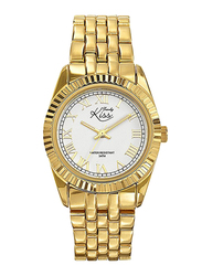 Trendy Kiss Analog Watch for Women with Stainless Steel Band, Water Resistant, TK-TMG10043-01, Gold-White