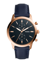 Fossil Analog Watch for Women with Leather Band, Water Resistant and Chronograph, Quartz, FS5436, Blue