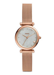 Fossil Limited Collection Carlie Analog Watch for Women with Stainless Steel Band, Water Resistant, ES4505, Rose Gold-White