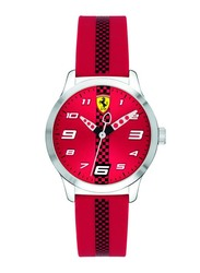 Scuderia Ferrari Pitlane Analog Unisex Watch with Silicone Band, Water Resistant, 860001, Red