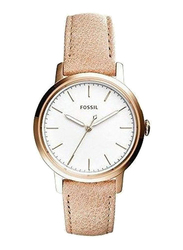 Fossil Analog Watch for Women with Leather Band, Water Resistant, ES4185, Beige-White