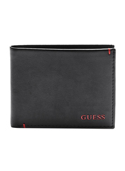 Guess Julian Premium Leather Double Bi-Fold Wallet for Men, with 6 Credit Card, Black