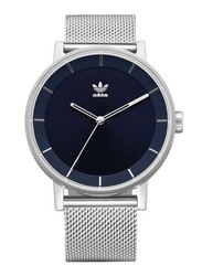 Adidas Analog Unisex Watch with Stainless Steel Band, Water Resistant, Z04-2928-00, Silver-Blue