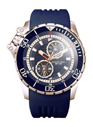 Jacques Farel Analog Watch for Men with Rubber Band, Water Resistant and Chronograph, AMC9099, Blue