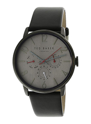 Ted Baker Classic Collection Analog Watch for Men with Leather Band, Water Resistant and Chronograph, T TBKTE1506602, Black-Grey