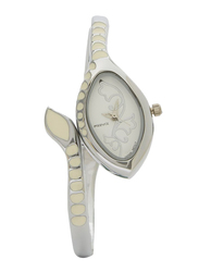 Previa Analog Watch for Women with Stainless Steel Band, Water Resistant, GF-09117LSS, Silver-White