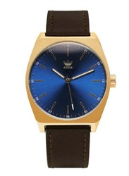 Adidas Process L1 Analog Unisex Watch with Leather Band, Water Resistant, Z05-2959-00, Brown-Blue/Gold