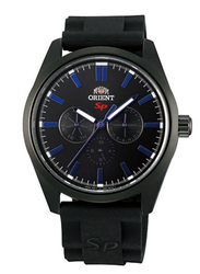 Orient SP Sporty Analog Multi Function Watch for Men with Rubber Band, Water Resistant, Date Display and Chronograph, SUX00001B0, Black