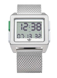 Adidas Archive M1 Digital Watch for Men with Stainless Steel Band, Water Resistant, Z01-3244-00, Silver-White