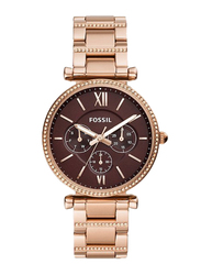 Fossil Limited Collection Carlie Analog Watch for Women with Stainless Steel Band, Water Resistant and Chronograph, ES4660, Rose Gold-Brown