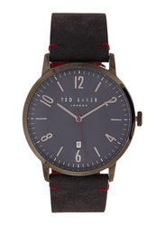 Ted Baker Analog Watch for Men with Leather Band, Water Resistant, TE50279002, Grey-Blue
