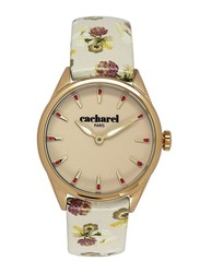 Cacharel Analog Watch for Women with Leather Band, Water Resistant, CLD012/XX, Off White-Beige