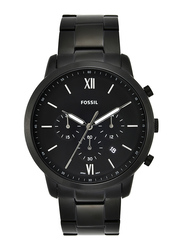 Fossil Analog Quartz Watch for Men with Metal Band, Water Resistant and Chronograph, FS5474, Black