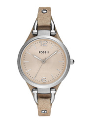 Fossil Georgia Analog Quartz Watch for Women with Leather Band, Water Resistant, ES2830, Beige