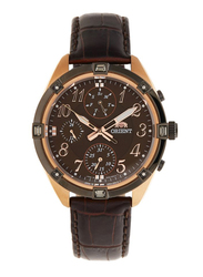Orient Analog Multi Function Watch for Women with Leather Band, Chronograph, SUY04004T0, Brown