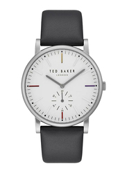 Ted Baker Oliver Analog Watch for Men with Leather Band, Water Resistant, T TBKTE50072001, Black-White