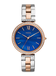 Fossil Limited Collection Madeline Analog Watch for Women with Stainless Steel Band, Water Resistant, ES4640, Rose Gold/Silver-Blue