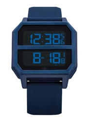 Adidas Archive R2 Digital Watch for Men with Silicone Band, Water Resistant, Z16-605-00, Blue-Black