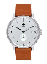Adidas District LX2 Analog Watch for Men with Leather Band, Water Resistant, Z12-3039-00, Brown-White