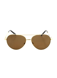 Gf Ferre Full Rim Aviator Sunglasses for Women, Brown Lens, GF980-03, 58/14