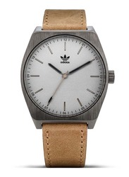 Adidas Process L1 Analog Unisex Watch with Leather Band, Water Resistant, Z05-2916-00, Brown-White